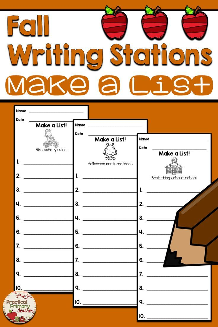 List Writing Templates for Writing Stations Fall | Collaboration