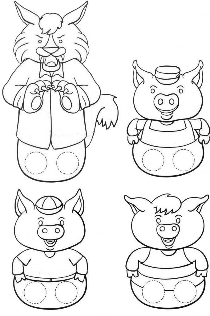 Пальчиковые игрушки из картона: волк и три поросенка