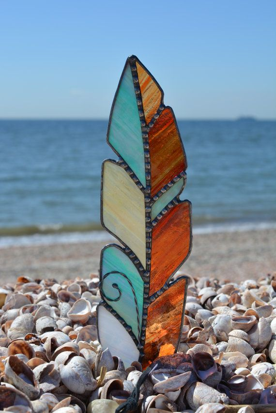 Large Elegant Stained Glass Feather Suncatcher by FrenchysCrafting