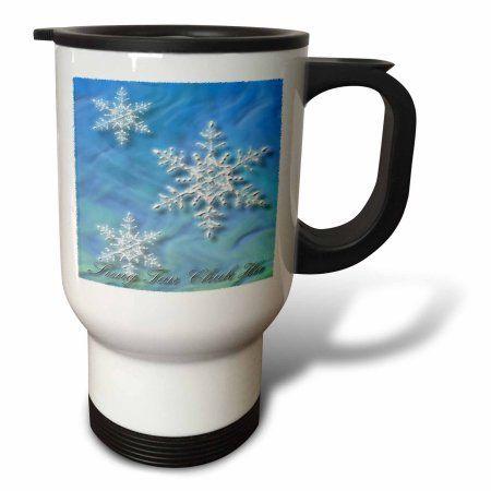 3dRose Sung Tan Chuk Ha, Merry Christmas in Korean, Snowflake , Travel Mug, 14oz, Stainless Steel