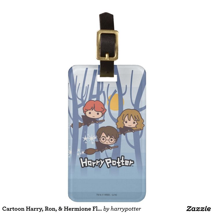 Cartoon Harry, Ron, & Hermione Flying In Woods. Regalos, Gifts. #Bag #Tags