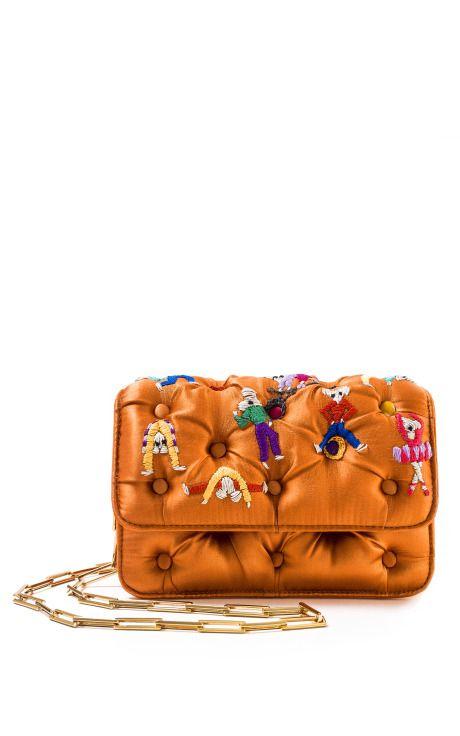 Orange Dancing Mice Carmen Clutch by Benedetta Bruzziches for Preorder on Moda Operandi
