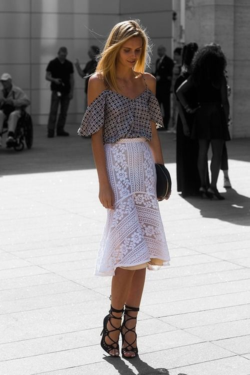 We have a similar eyelet skirt for our Resort '15 collection.... Street Style Fashion Model off Duty Inspiration Katharine Kidd