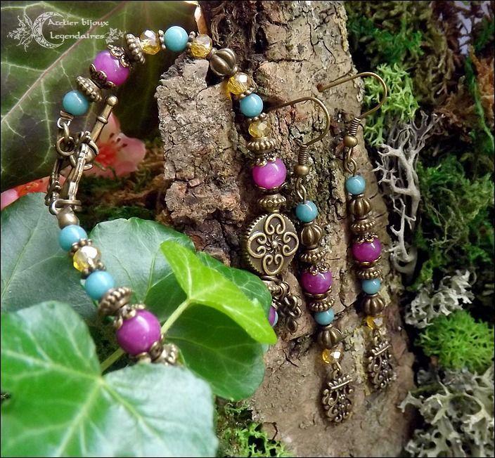 ᘛ Alliance minérale ᘚ Parure bohème Bali, bracelet & boucles, Jade fuchsia, Jade turquoise, cristal jaune ethnique bronze : Parure par atelier-bijoux-legendaires