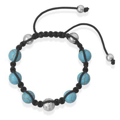Adjustable Macrame Bracelet with Turquoise Beads MMAIntl. $39.41