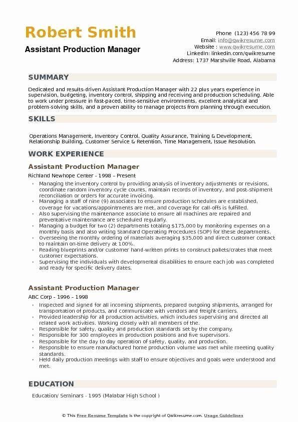 Assistant Manager Job Description Resume Unique Assistant Production Manager Resume Samples In 2020 Good Resume Examples Resume Examples Manager Resume