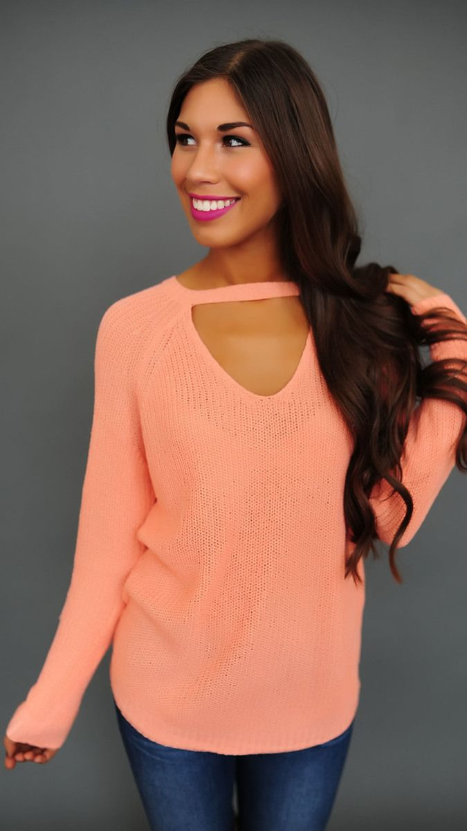 Peach Knit Keyhole Front Top - Dottie Couture Boutique