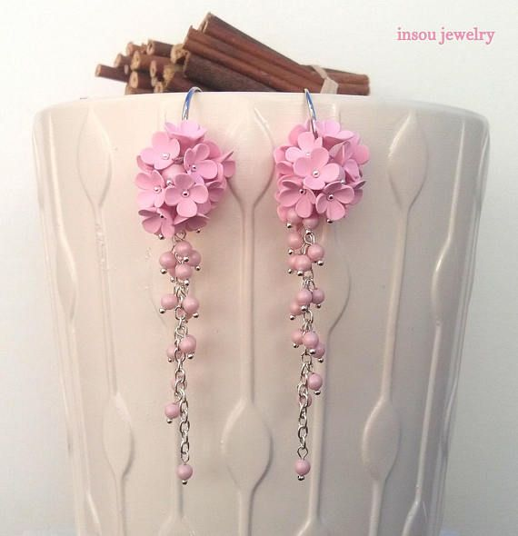 Flower EarringsWedding EarringsLight Pink Earrings Pearl