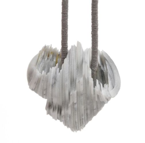 Tarja Tuupanen Necklace: Notions of skill, 2013 Ready-made marble tableware, velour sticker, steelwire stonepart: 9 x 8,5 x 6,5 cm; length of the necklac Photo: Lassi Rinno.