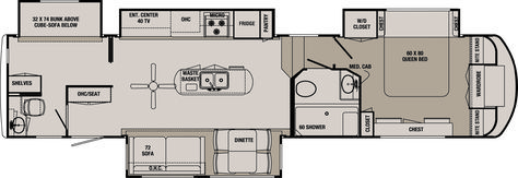 rv bunk bed plans 2 ba | Redwood RV's Blackwood luxury family bunk house fifth wheel