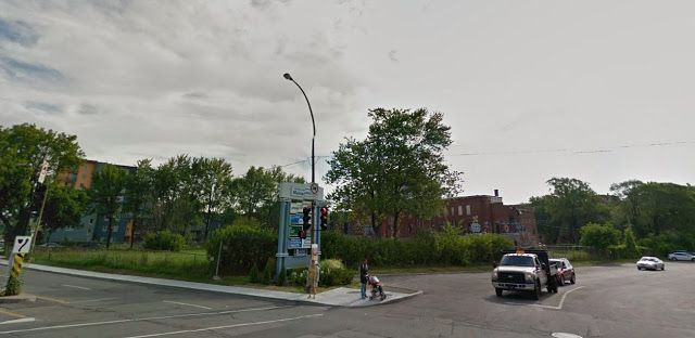 Vanishing Montreal: Old red brick building + land gone on Marcel Pepin...
