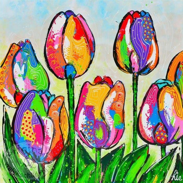 Vrolijk Schilderij Tulpen
