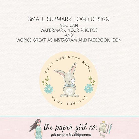bunny logo rabbit logo baby shop logo children's by ThePaperGirlCo