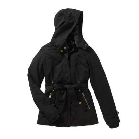 Beverly Hills Polo Club Girls' Belted Hooded Cotton Anorak Jacket With Pockets, Size: 10/12, Black