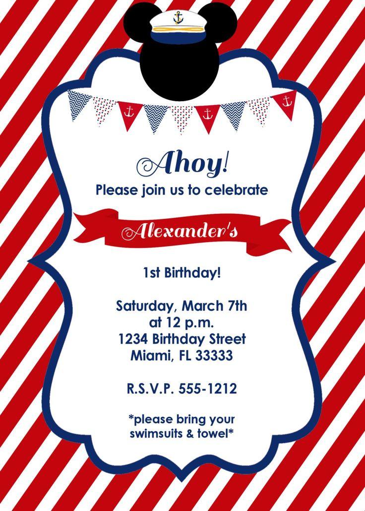 Nautical Mickey Mouse Birthday Invitation por LoveLifeInvites