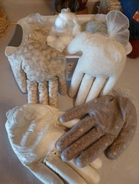 You can fill the gloves with rice, oatmeal, beans. Great for sensory!