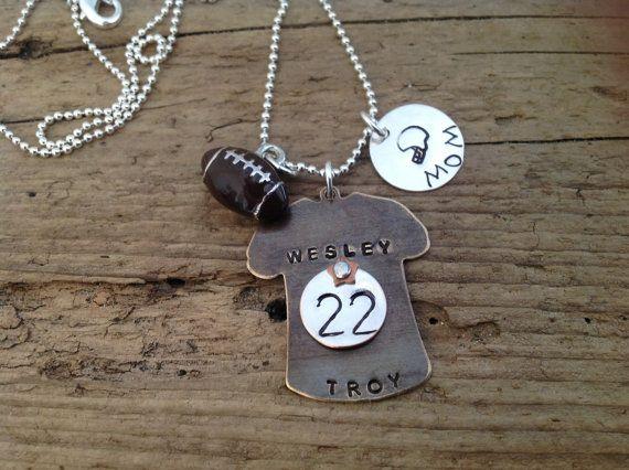 Football Mom Sports Necklace personalized custom pendant via Etsy