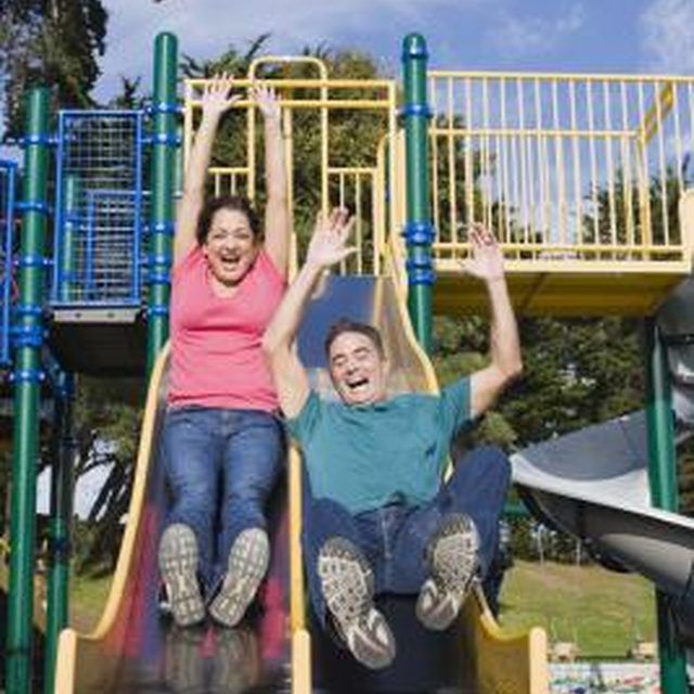 A metal slide can provide hours of fun for children.