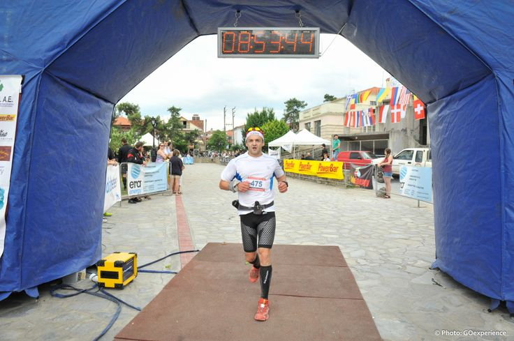 Finishing the Olympus Marathon 44km trail race. 2014