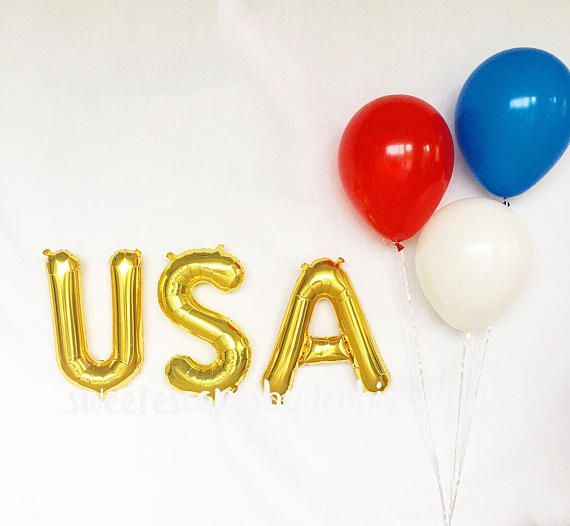 USA Gold Letter Balloons ~ Fourth Of July Party ~ Welcome Home Balloon ~American Pride Balloon ~ Memorial Day Balloon~ 16 inch Air Fill Only