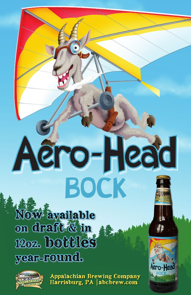 OG: 15.8 | FG: 2.8 | ABV: 7% | IBUs: 25  Available in Draft & Bottles – 24/12oz per case  A German-style bock beer with personality! Aero-Head Bock is semi-sweet with bold upfront flavor and a light hoppiness. This dark copper lager is rich and toasty, yet finishes with a delightful crispness. Enjoy this high flying goat! It'll kick you right in your Landing Zone! #craftbeer #bock #bottledbeer