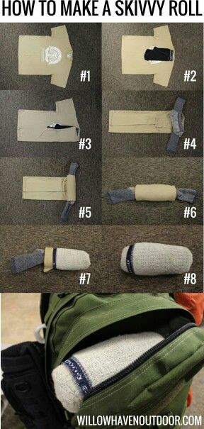 How to make a skivvy roll. For ladies, place panty in bra cup, fold bra in half and place in sock. Kids, place undies and socks on top of shirt, fold in half & roll, tucking in bottom.   G;)