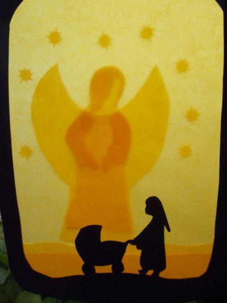 Jahreszeitentisch - Waldorf Transparentbild Schutzengel - ein Designerstück von Puppenprofi bei DaWanda