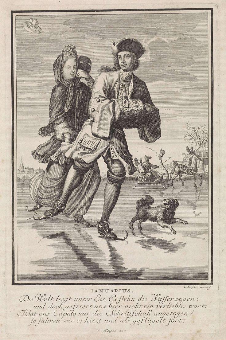 Caspar Luyken | Januari, Caspar Luyken, Anonymous, Christoph Weigel, 1698 - 1702 | De maand januari. Een paar schaatst op een bevroren kanaal. Een hond rent achter hen aan. Op de achtergrond een stad en een paar in een slede getrokken door een paard. De prent heeft een Duits onderschrift van vier regels over de maand januari.