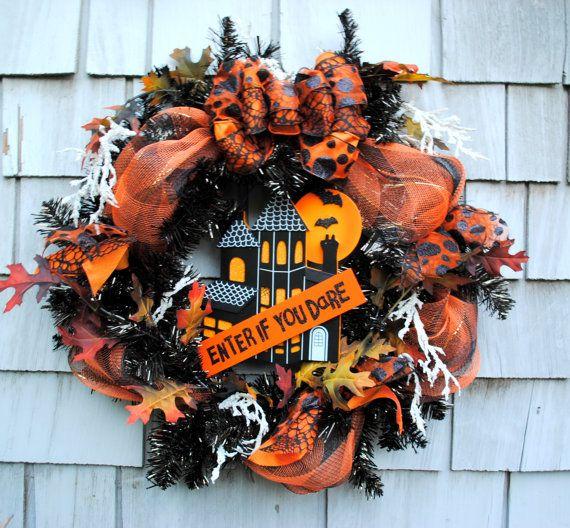 Halloween Wreath Haunted House Enter If You by TisTheSeasonDesign, $75.00
