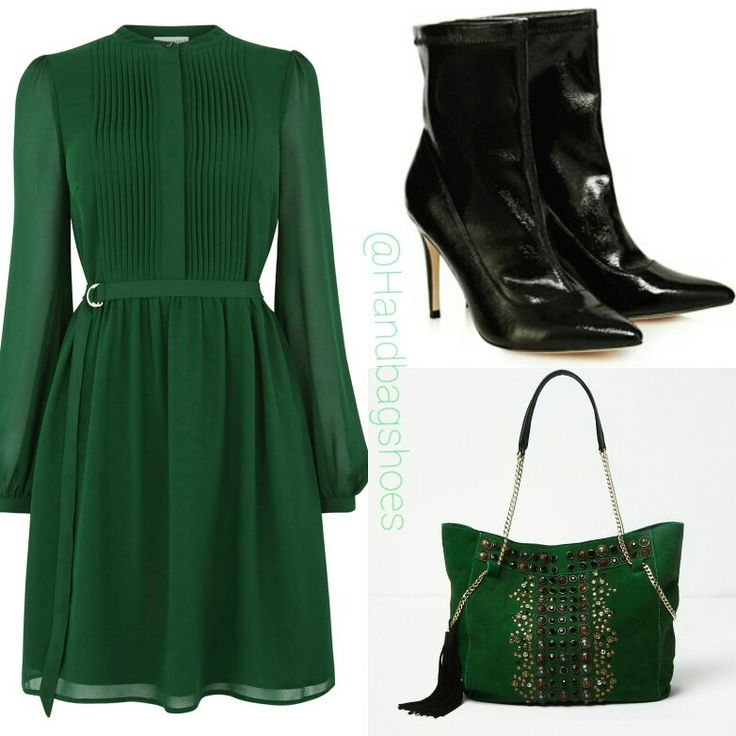Get the green look - Green chiffon shirt dress £49.00 from Warehouse. Black Faith ankle boots at Debenhams £29.50 (sale). Green embellished chain slouch bag £75.00 river Island.
