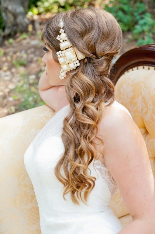 Hair accessory with long curls. Wedding day hair | Carrie Purser Makeup and Hair Artistry