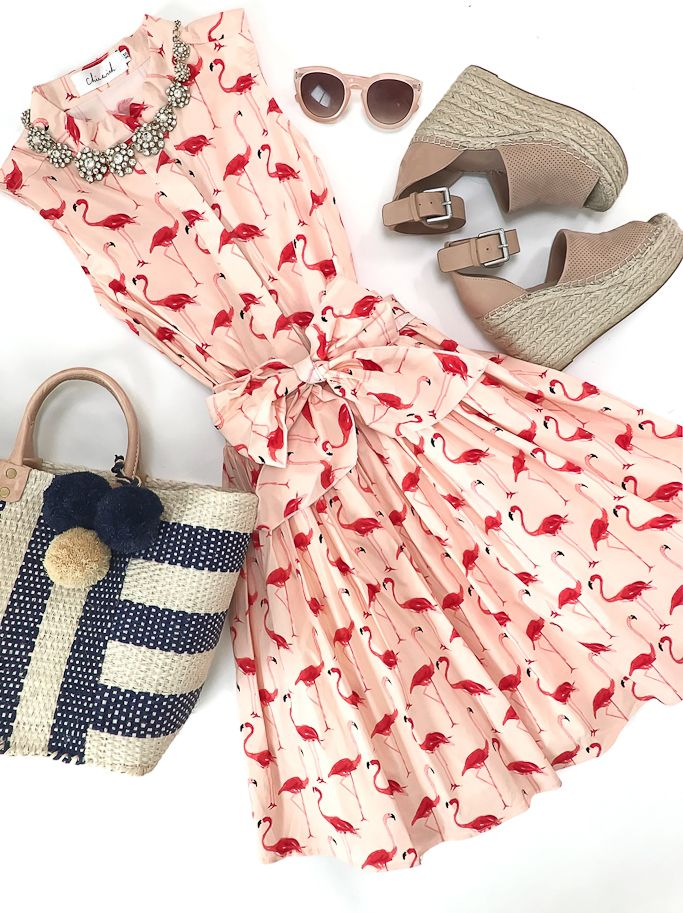 Flamingo print dress, collins woven tote, marc fisher blush wedges, crystal necklace, spring outfit, spring dress, petite fashion blog, petite summer dresses, straw tote - click the photo for outfit details!