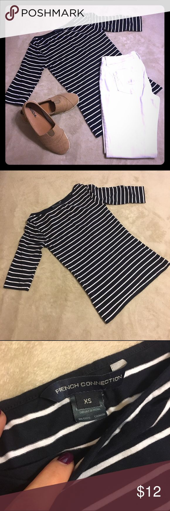 French Connection Striped Boat Neck Top- XS Women's 3/4 sleeve boat neck striped top by French Connection. Navy blue and white stripes. Perfect with white jeans or shorts, and sandals for a nautical summer look, or a day out on the boat! ⛵️ French Connection Tops Tees - Long Sleeve