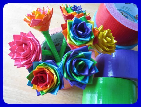 Duct Tape Flowers1 step Awesome Crafts Made with Duct (Duck) Tape