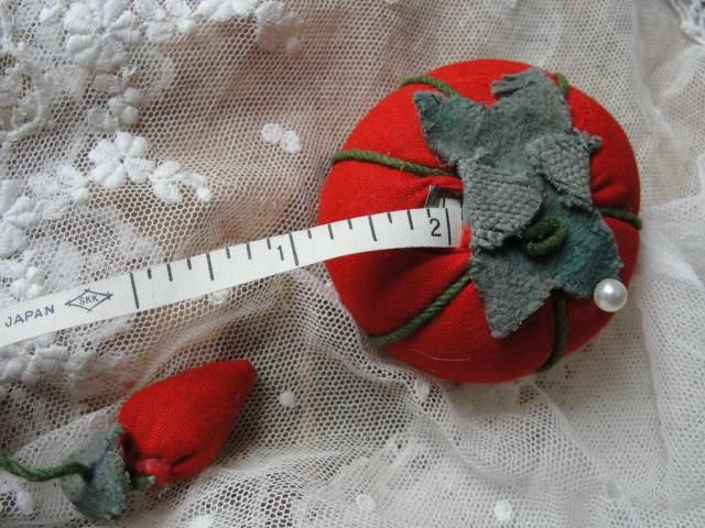 Wonderful Vintage Tomato Pin Cushion,Tape Measure and Strawberry Emery Made In Japan Collectible Sewing Tool
