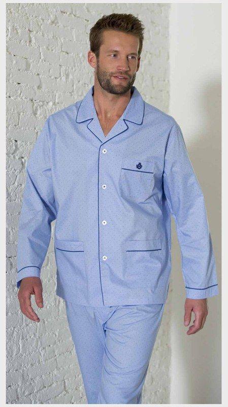 Pijama en tela de GUASCH, algodón 100% para un uso continuado de todo el año. Acabado azul con topitos muy pequeños. NUEVO. Envío Urgente 24/48h