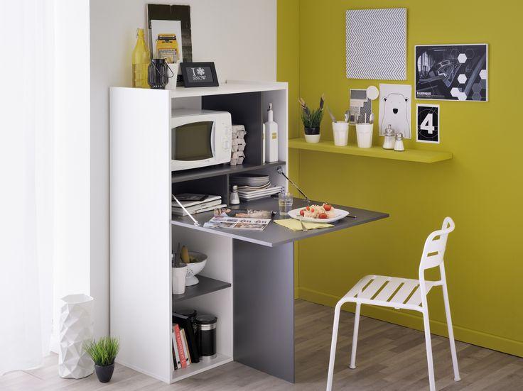Das Multifunktionsregal grau/ weiss von Woody Möbel ist vielseitig einsetzbar. Die Platte ist einklappbar und kann als Ablage oder Tisch genutzt werden. So können Sie sich auch auf wenig Raum den Traum einer Hausbar erfüllen!
