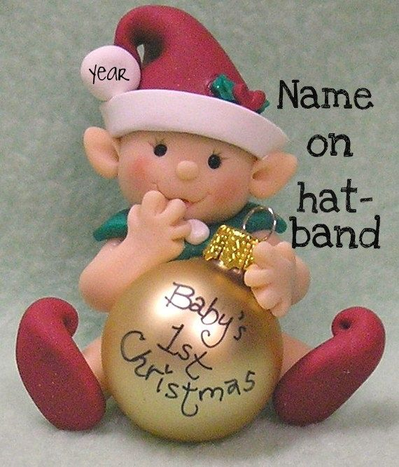 Gnome, Fairy, Elf Baby's First Christmas Personalized Christmas Ornament, 1st Christmas. $25.00, via Etsy.