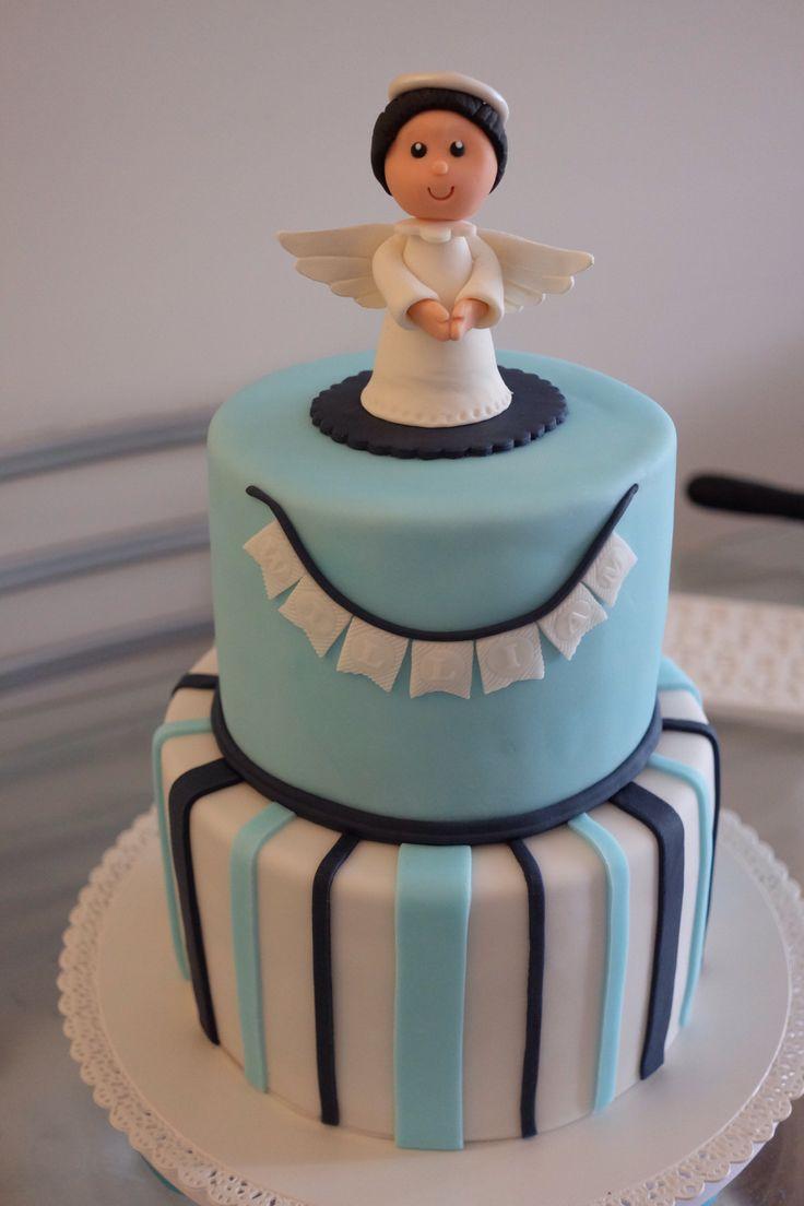 Baptism boy cake with angel - Gâteau baptême garçon avec petit ange