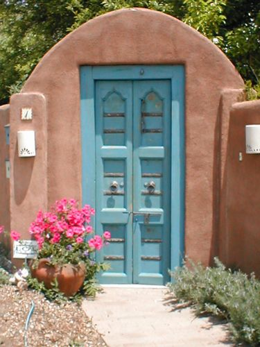 """Gates are considered the first """"door"""" into the property. Make sure there is a Ming Tang or open space on both sides of the #door to capture auspicious #Feng Shui  http://patricialee.me/feng-shui-at-the-front-door/Qi. Santa Fe, New Mexico"""