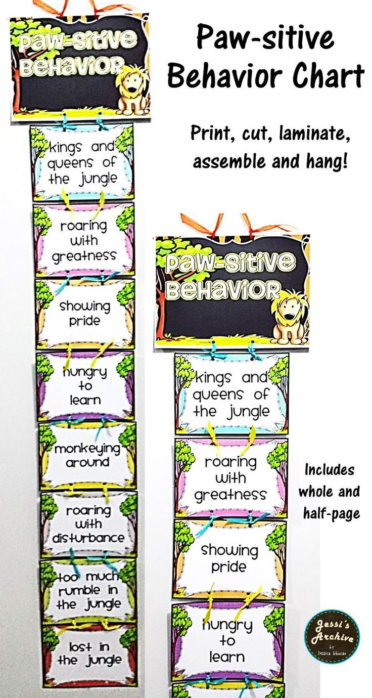 Behavior Chart Safari/Jungle Theme: This behavior chart will help your students to keep their behavior in check. Includes 2 types of chart and 2 sizes (whole and half page). The color in the simple version intensifies according to child's behavior. The colorful version is included just for fun. Both appealing to the eyes and could go very well in your jungle or safari classroom theme. Just print, cut, laminate, assemble and hang!