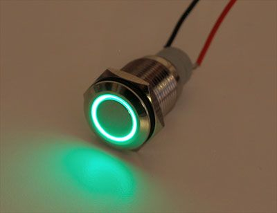Waterproof Metal On/Off Switch with Green LED Ring