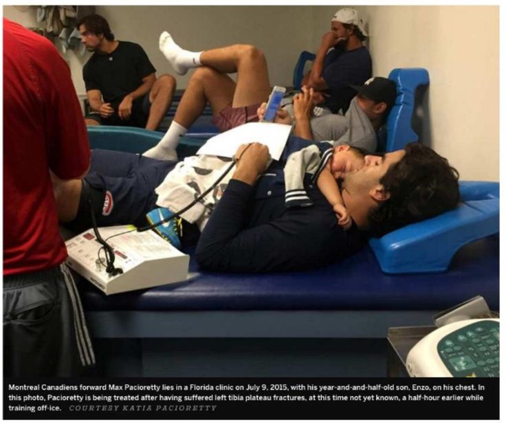 """""""Enzo came in and instantly I forgot about my leg (injury). He ended up falling asleep on me on the clinic table. I realized there's so much more important stuff in life than things like injuries. I have so much more that can me happy even walking around every day."""" ~ Max Pacioretty"""