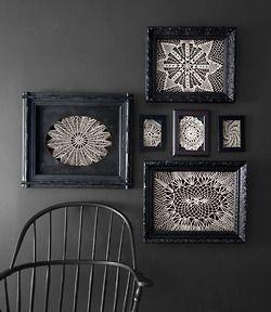 framed lace: Halloween Decorations, Ideas, Lace, Black Frames, Art, Vintage Doilies, Framed Doilies, Diy, Crafts