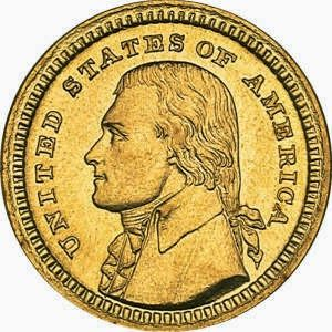 """The Louisiana Purchase Exposition Thomas Jefferson Gold Dollar features a portrait of the president on the obverse with the design credited to Charles E. Barber. A left facing portrait of Jefferson appears with surrounding inscription """"United States of America"""". This represented the first time he was depicted on a legal tender U.S. coin."""