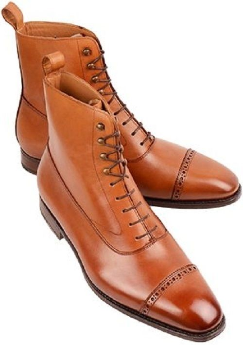 Handmade Men Tan ankle boots, Men tan color lace up ankle boot, Men leather boot - Boots