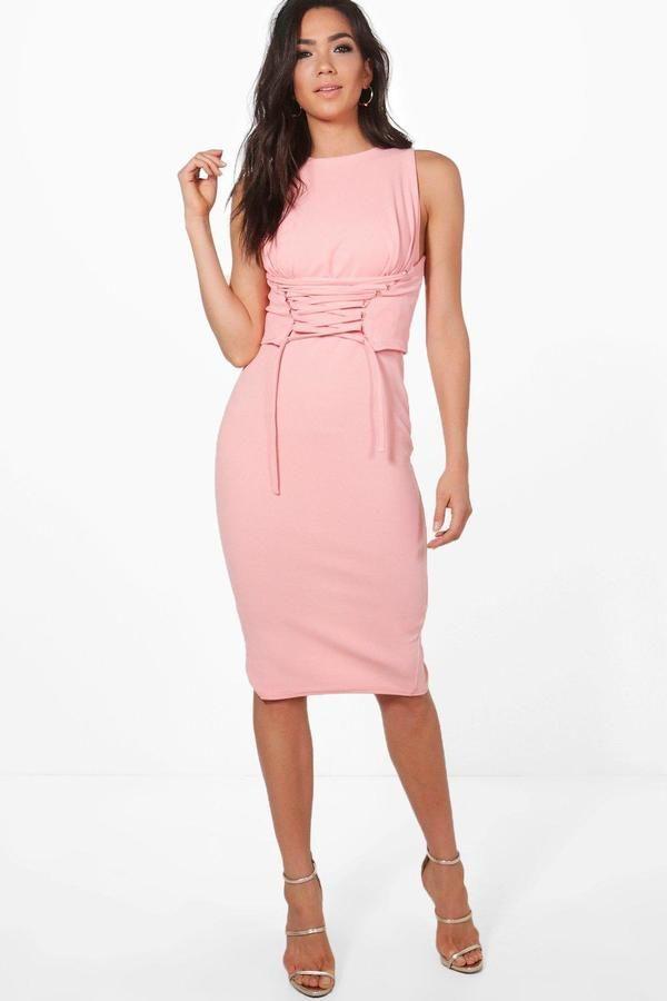 boohoo Cara Corset Lace Peplum Midi Dress