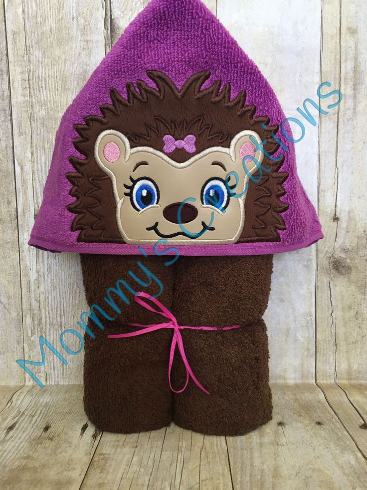 """Hedgehog Girl Applique Hooded Bath, Beach Towel, Cover Up 30"""" x 54"""" by MommysCraftCreations on Etsy"""