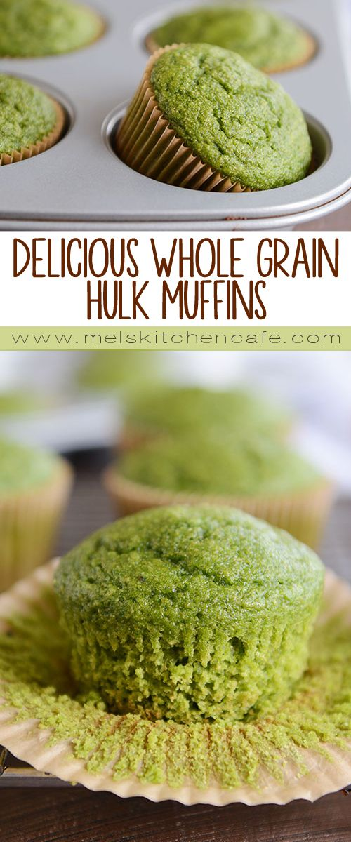 Delicious Whole Grain Hulk Muffins {Naturally Green!}