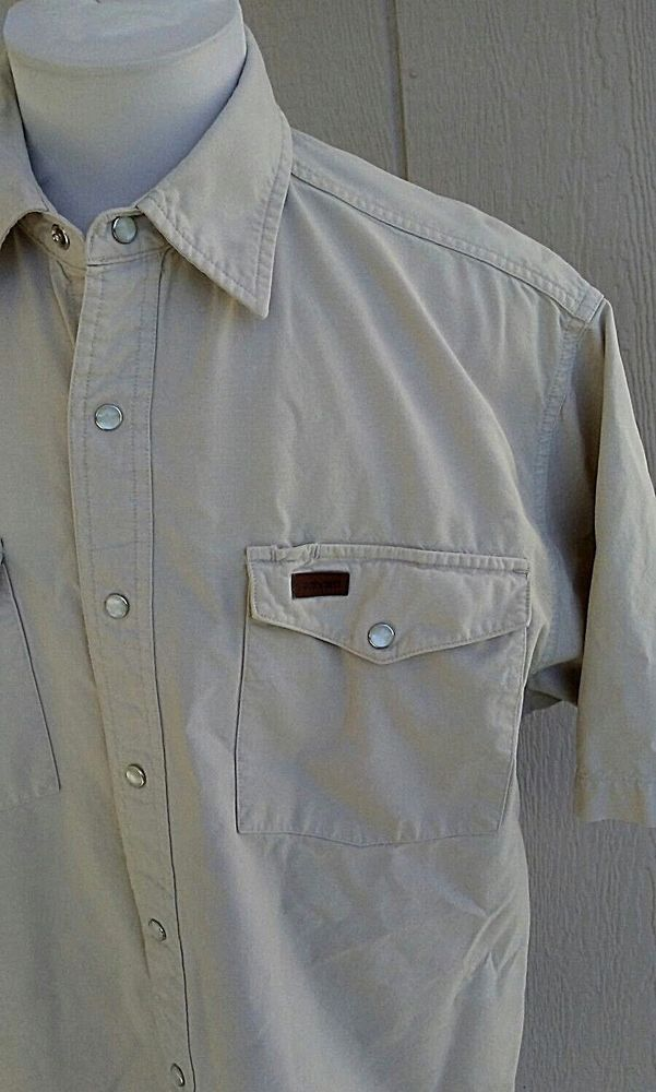 8674e32be31 Carhartt Mens Size Medium Short Sleeve Shirt Pearl Snap Cotton Beige  S135NTC  Carhartt  Western